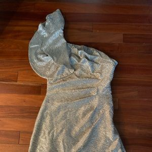 One shoulder silver evening dress